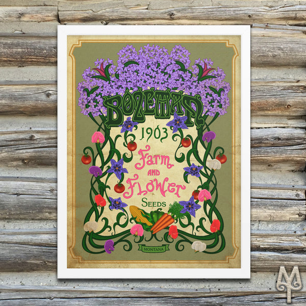 Vintage Bozeman Farm And Flower, framed poster