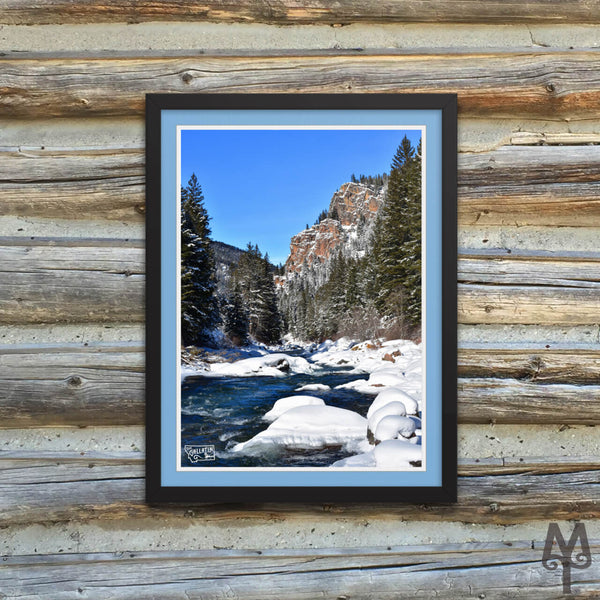 Gallatin Canyon Winter, framed poster, 12 X 16