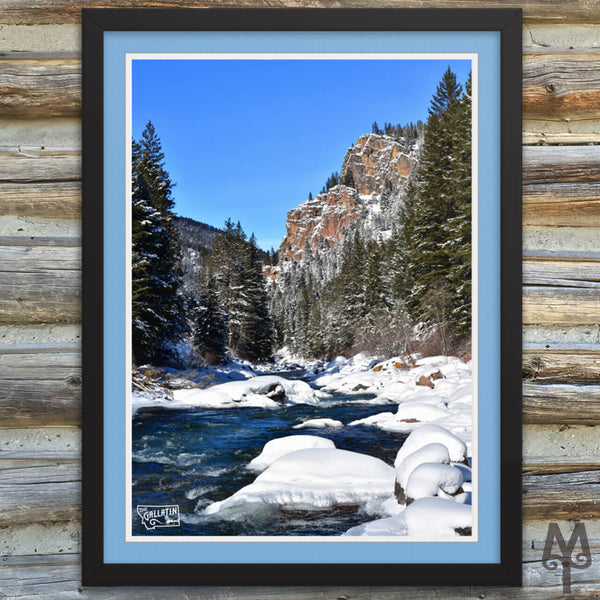 Gallatin Canyon Winter, framed poster, 18 X 24