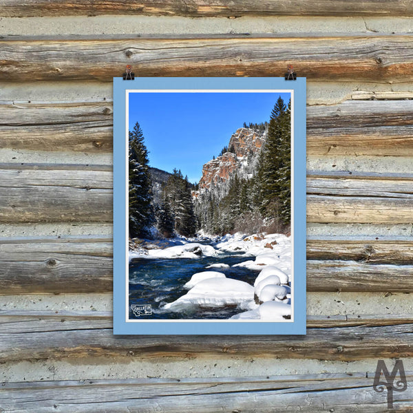 Gallatin Canyon Winter, unframed poster, 12 X 16