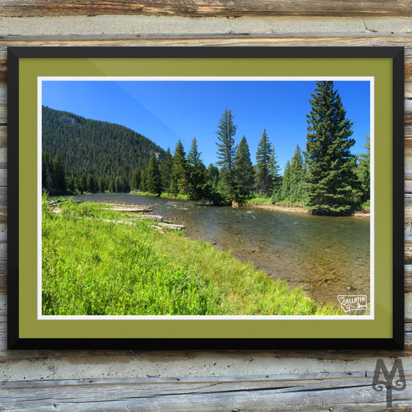 Gallatin River, Big Sky, framed poster, 24 X 18