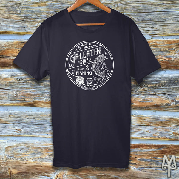 Gallatin River Gone Fishing, white logo t-shirt, Navy