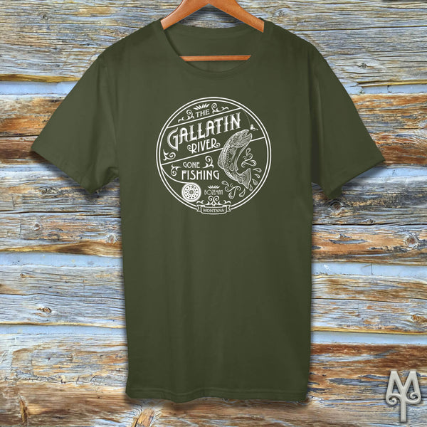 Gallatin River Gone Fishing, white logo t-shirt, Olive