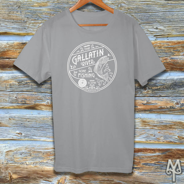 Gallatin River Gone Fishing, white logo t-shirt, Grey