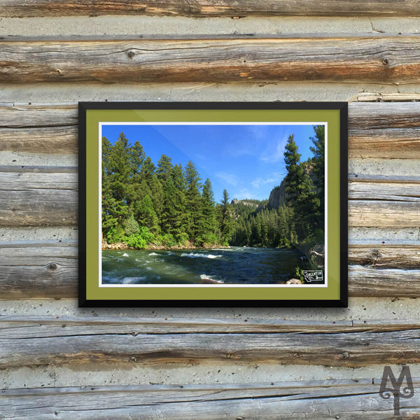 Gallatin River, Squaw Creek, framed poster, 16 X 12
