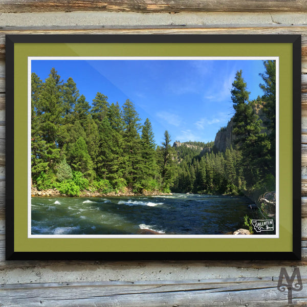 Gallatin River, Squaw Creek, framed poster, 24 X 18