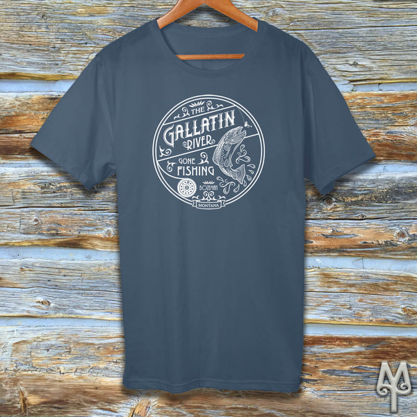 Gallatin River Gone Fishing, white logo t-shirt, Steel Blue