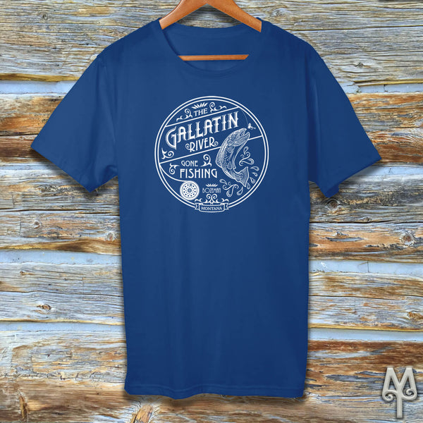 Gallatin River Gone Fishing, white logo t-shirt, Royal Blue