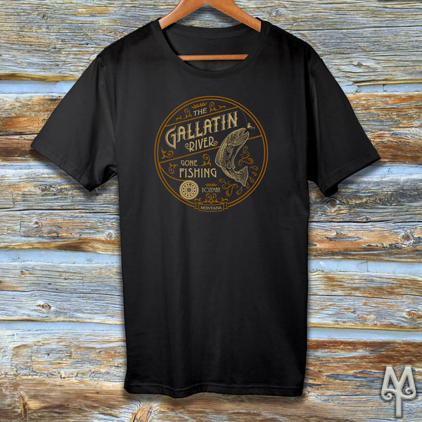 Gallatin River Gone Fishing, black t-shirt