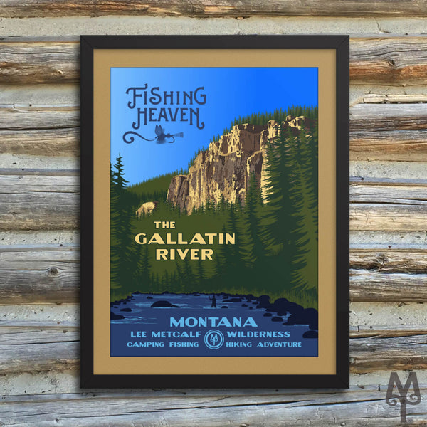 Gallatin River, Fishing Heaven, new, matted, framed poster