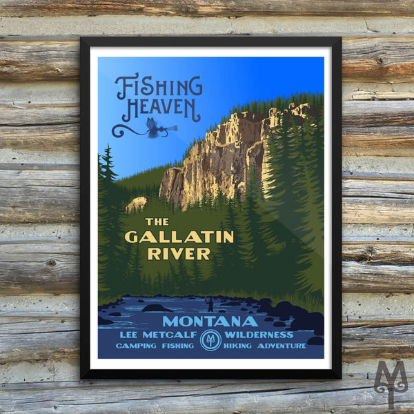 Gallatin River, Fishing Heaven, new framed poster