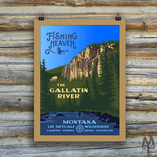Gallatin River, Fishing Heaven, new matted, unframed poster