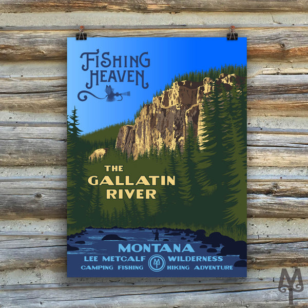 Gallatin River, Fishing Heaven, new unframed poster