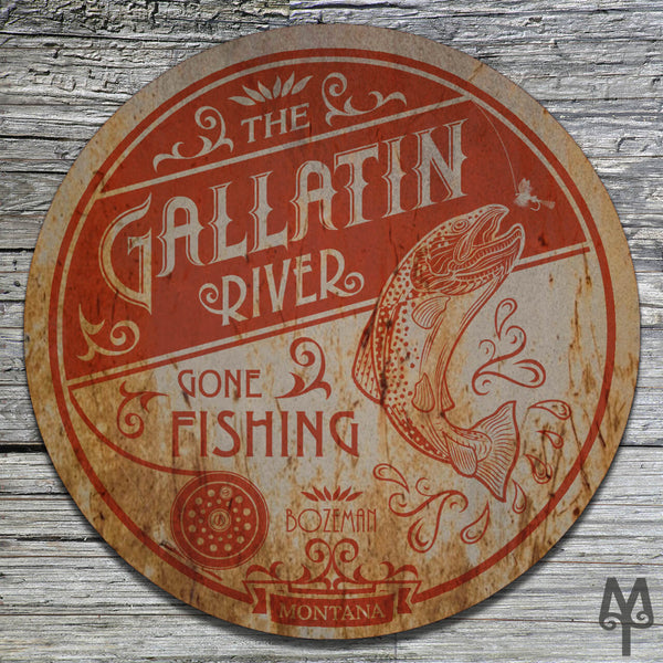 Vintage Gallatin River, Wall Sign