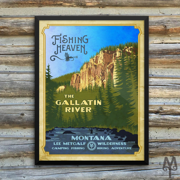 Gallatin River, Fishing Heaven, vintage framed poster