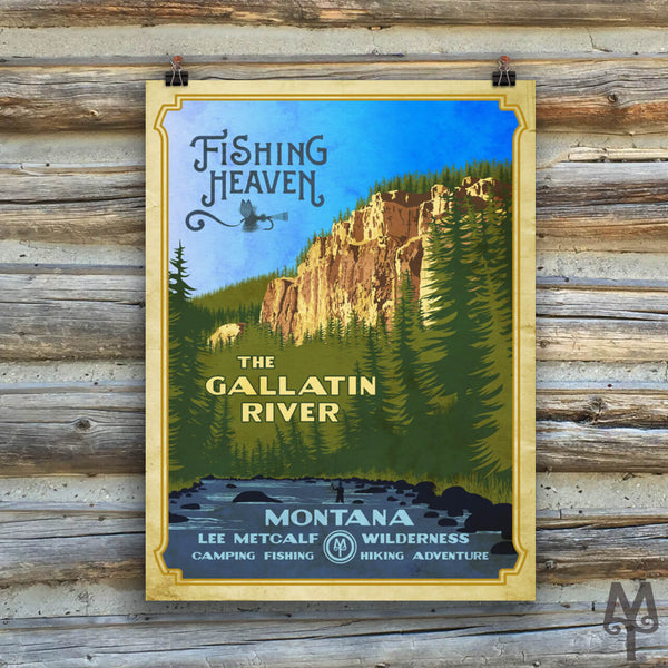 Gallatin River, Fishing Heaven, vintage unframed poster