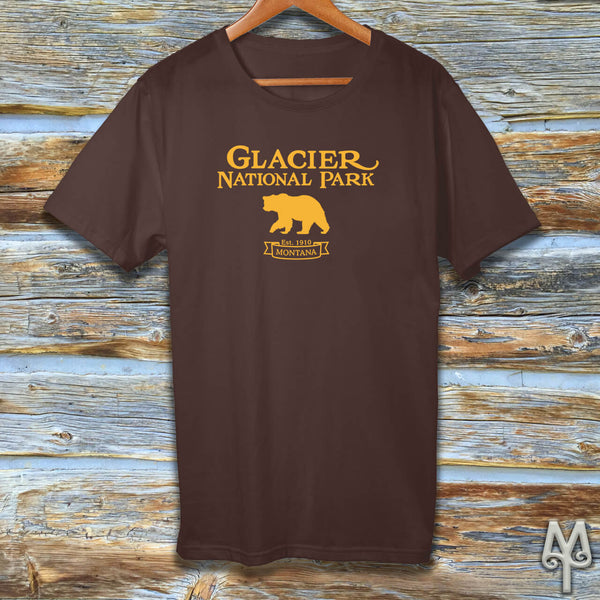 Glacier National Park, gold logo t-shirt, Brown