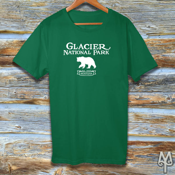 Glacier National Park, white logo t-shirt, Kelly Green
