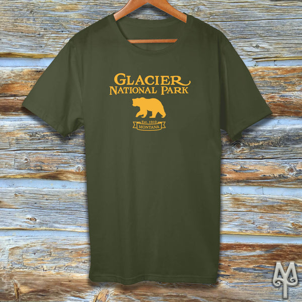 Glacier National Park, gold logo t-shirt, Olive