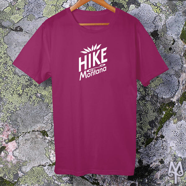 Hike Montana, white logo t-shirt, Berry
