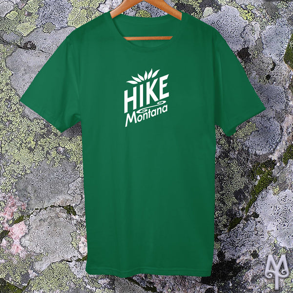 Hike Montana, white logo t-shirt, Kelly Green