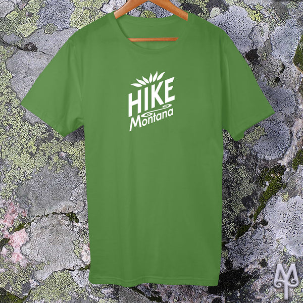 Hike Montana, white logo t-shirt, Leaf