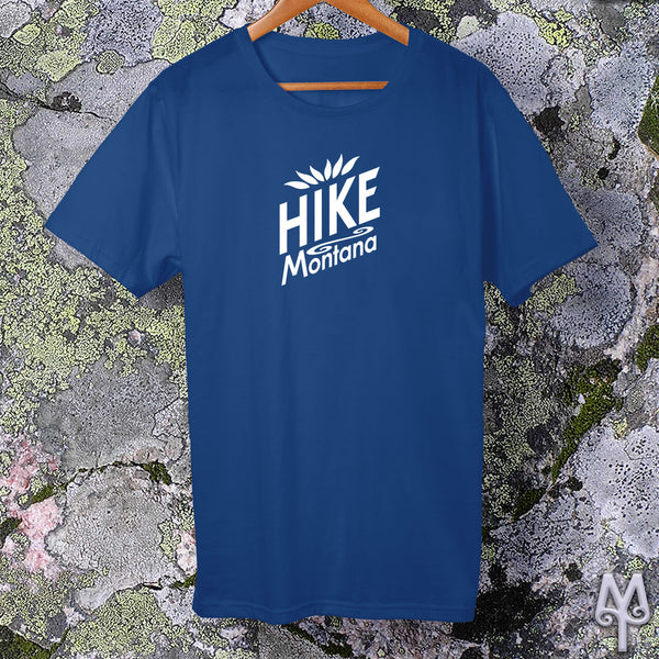 Hike Montana, white logo t-shirt, True Royal