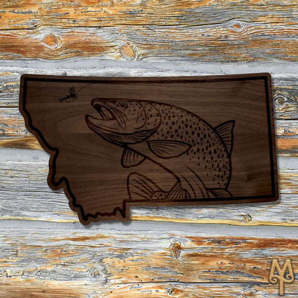 Wood Montana Brown Trout Wall Sign