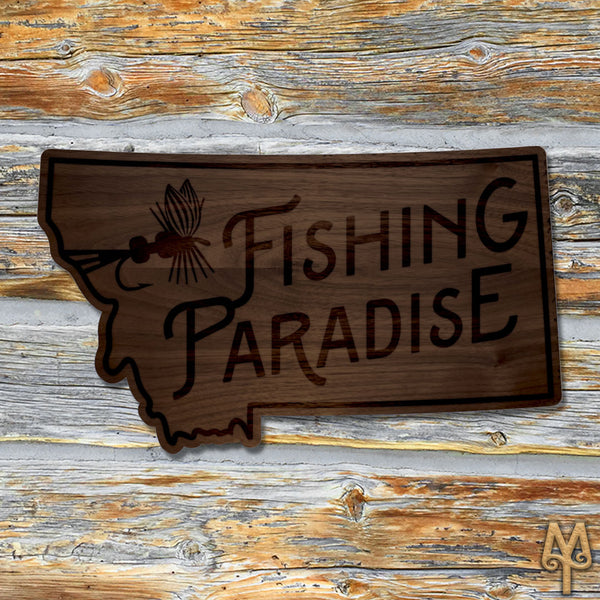 Wood Montana Fishing Paradise Wall Sign