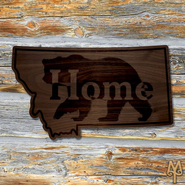 Wood Montana Home Bear Wall Sign
