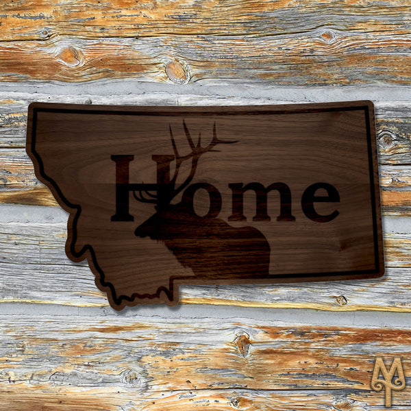 Wood Montana Home Elk Wall Sign