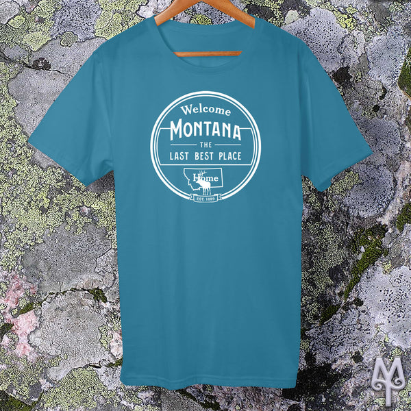 Montana The Last Best Place, white logo t-shirt, Aqua