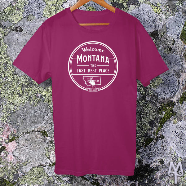 Montana The Last Best Place, white logo t-shirt, Berry