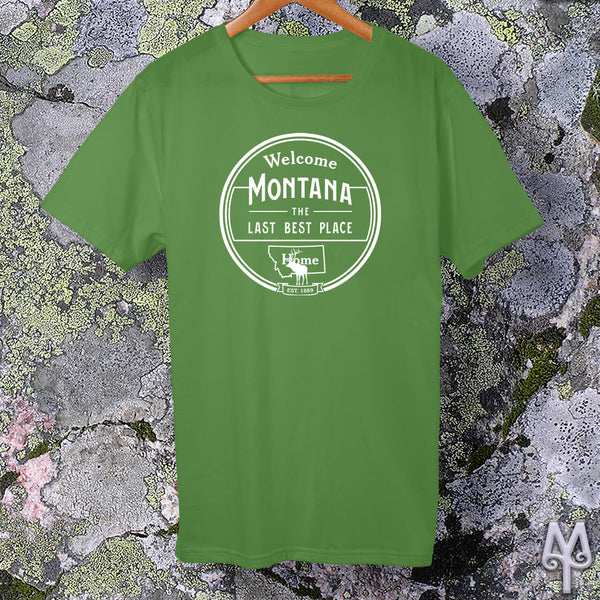Montana The Last Best Place, white logo t-shirt, Leaf