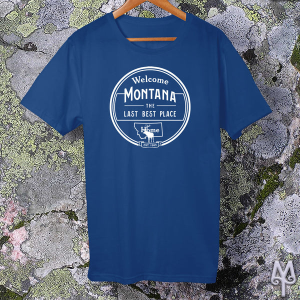 Montana The Last Best Place, white logo t-shirt, True Royal