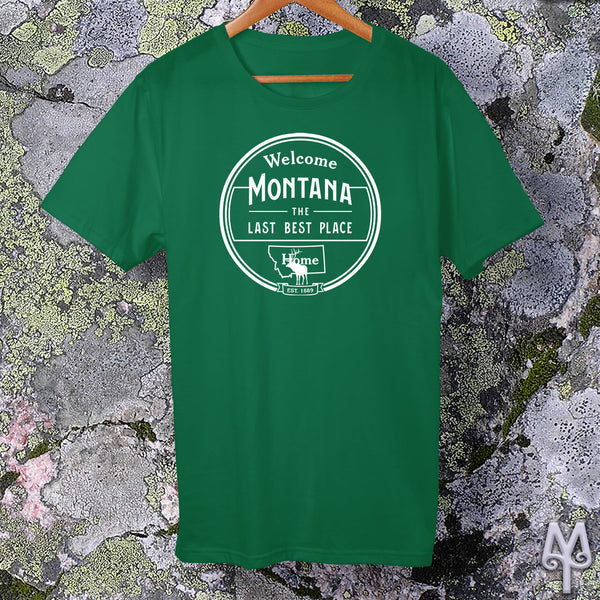 Montana The Last Best Place, white logo t-shirt, Kelly Green