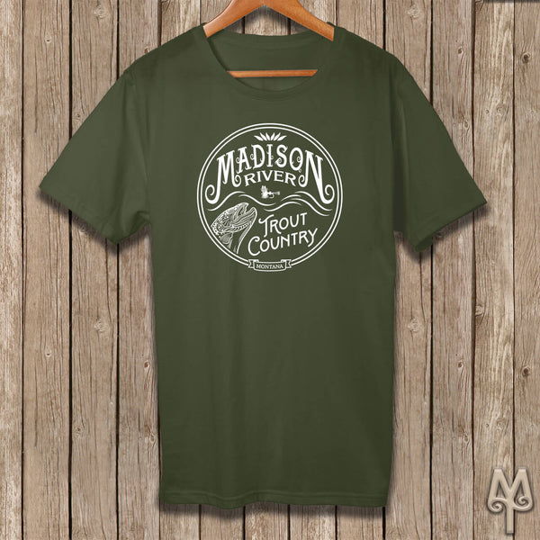 Madison River Trout Country, white logo t-shirt, Olive