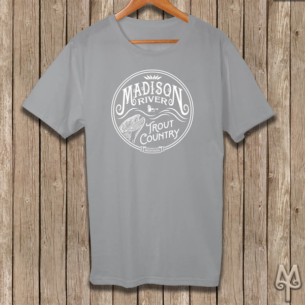Madison River Trout Country, white logo t-shirt, Grey