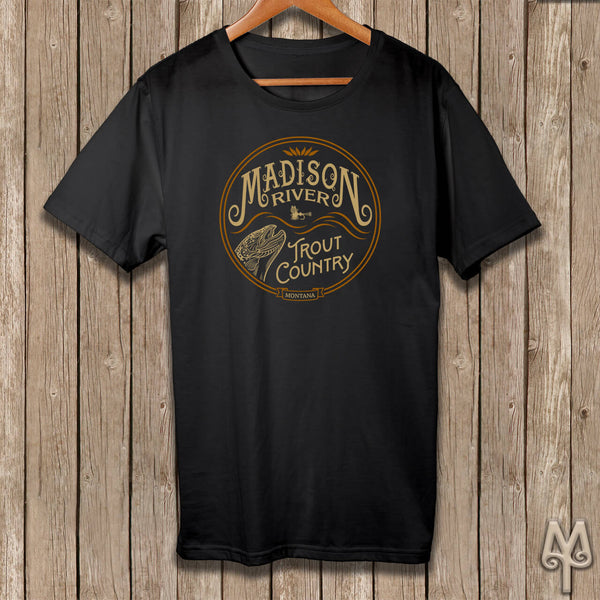 Madison River Trout Country, black t-shirt