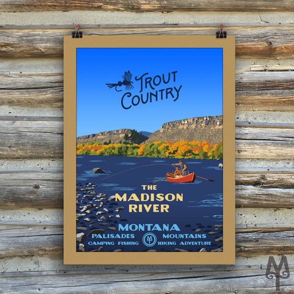 Madison River, Trout Country, new matted, unframed poster