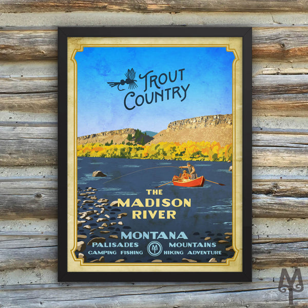 Madison River, Trout Country, vintage framed poster