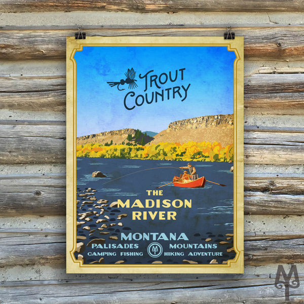 Madison River, Trout Country, vintage unframed poster