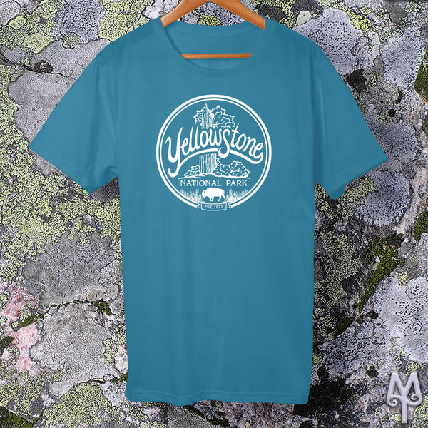 Old Faithful, white logo t-shirt, Aqua
