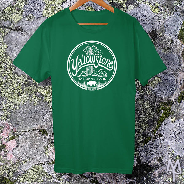 Old Faithful, white logo t-shirt, Kelly Green