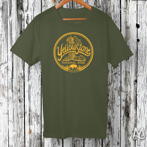 Old Faithful, gold logo t-shirt, Olive