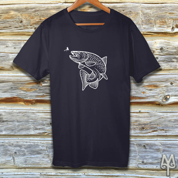 Rising Trout, white logo t-shirt
