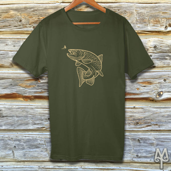 Rising Trout, gold logo t-shirt, Olive