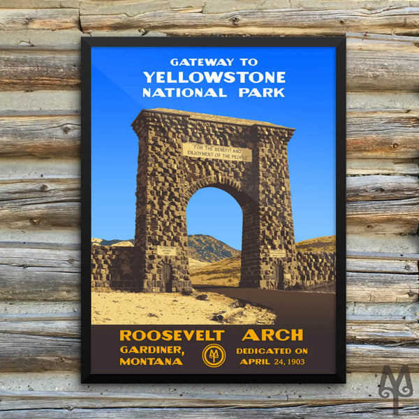 Yellowstone National Park, Roosevelt Arch, framed poster