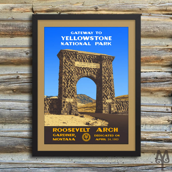 Yellowstone National Park, Roosevelt Arch, matted, framed poster