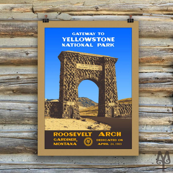 Yellowstone National Park, Roosevelt Arch, matted, unframed poster
